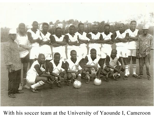 With-his-soccer-team-at-the-University-of-Yaounde-I,-Cameroon